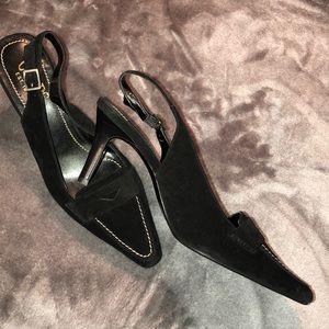 Chaps Women's Black Slingback Suede Pumps Size 6